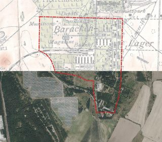 Lokalisierung eines ehemaligen Militärlagers durch Überlagerung einer historischen Karte von 1904 und eines aktuellen Luftbildes vom Geoportal Sachsen.
